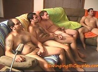 5 BI GUYS and 1 CUM corroding WIFE _: bisexuals cream pie swingers
