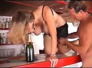 French Milf fucked by a big cock and a bottle of champagne _: amateur anal french