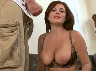 milf sucks cock in her bra