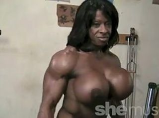 Big Tits Ebony  Muscled Silicone Tits Sport