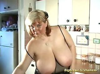 Big Tits Kitchen  Natural Oiled