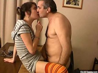 Hot teen fucked by a old man