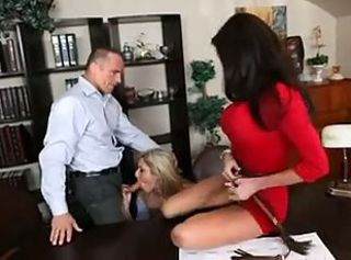 Babe Blowjob Hardcore Office Secretary Threesome
