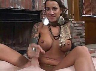 Tattooed and pierced girl giving amazing BJ