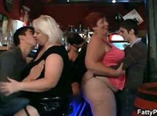 Crazy plump chicks have fun in the bar _: bbw big boobs tits