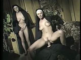 Depraved bisexual nuns involve priest in hot filthy threeway bang