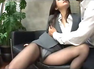 Busty Office Lady In Pantyhose Getting Her Pussy Rubbed Giving Blow...