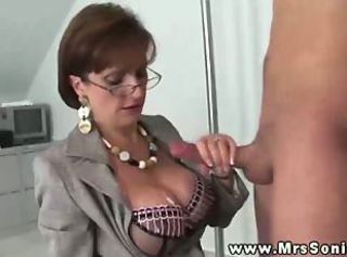 Amazing Big Tits  Glasses Handjob Lingerie