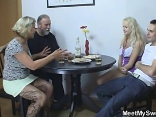 Perverted parents fuck their son's GF
