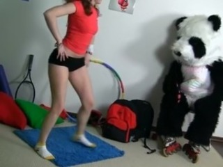 Sporty sexy teen fucks with funny Panda free