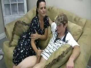 Brunette Handjob  Mom