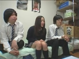 Asian Cute Japanese Skirt Student Teen Threesome