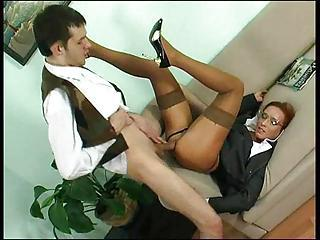 Glasses Hardcore MILF Office Pornstar Stockings