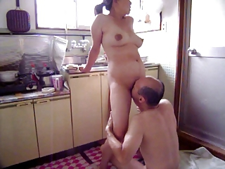 Amateur Asian Japanese Kitchen Licking  Old and Young