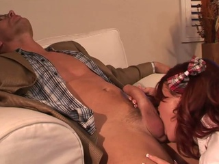 Redhead Teen Rides An Older Man On The Sofa