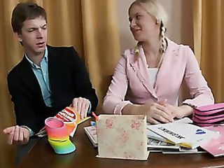 Blonde tutor intensely fucking with..