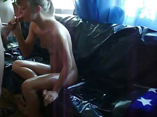 Great action of a blonde sexy babe...