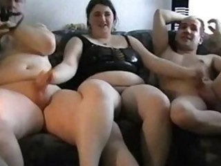 German chubby slut has fun with two..