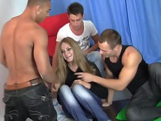Gangbang Rally With A Hot Blonde In Sexy Lingerie
