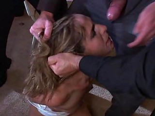 Blonde Babe Has No Choice But To Get Gangbanged By Horny Bastards