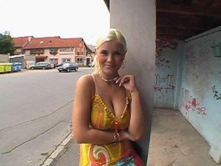 Horny Blonde Babe with Amazing Jugs Shoots a Reality Porn Video Outdoors