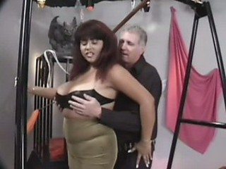 BBW Submissive Brunette Gets Her Giant Knockers Whipped and Tortured