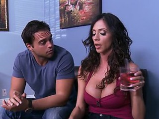 Busty MILF Ariella Ferrera Gives Titty Fuck and Gets Fucked Doggy Style