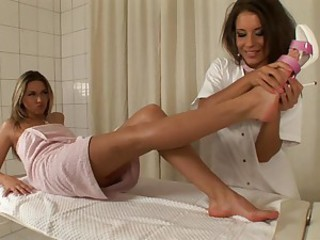Hot slut Cherry Jul and whore Lora Craft having sexy lesbian fun in a room