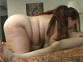 Brunette BBW Sucks Cock and Fucks Doggy Style To Take Cum on Her Tits