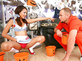 We've got a real hottie for you today. She is all decked out in her Dorthy outfit and looking totally delicious helping Jmac decorate the place for Halloween . Once they are done they have time to kill and what better way to do that than to do lil fucking