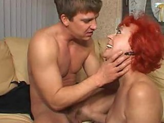 Granny with bright red hair fucked hard
