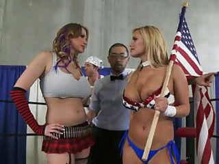 Cock sharing ladies in boxing ring