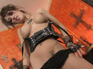 Capri Cavalli exposes her big lusty tits and fucks herself silly