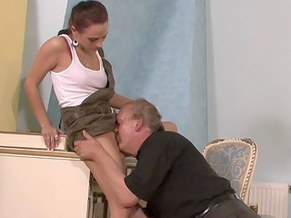 Cute Licking Old and Young Skirt Teen