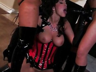 Fetish Latex Lesbian  Strapon Threesome