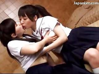 Asian Cute Japanese Kissing Lesbian Skirt Student Teen