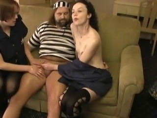 Handjob Old and Young Stockings Teen Threesome