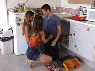 Hardcore Kitchen Teen Threesome