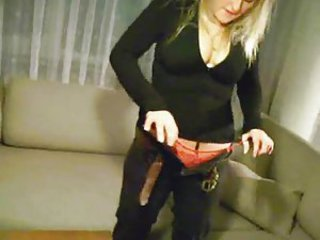 Blondie puts panties in her tight pussy