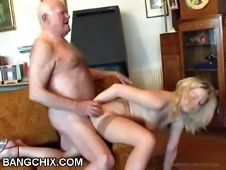 Daddy Daughter Doggystyle Old and Young Stockings Teen