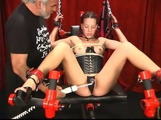 A hot chick with kinky skin of one's teeth and a partially shaved devotee gets worked over