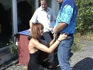 Clothed European German  Outdoor Threesome