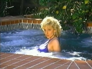 Amazing Blonde  Outdoor Pool Pornstar Vintage