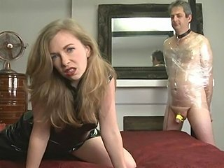 A tied up cuckold slave is made to watch a real man fuck his mistress and...