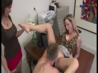 Clothed Licking  Office Threesome