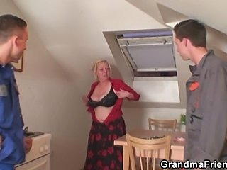Two repairmen bang busty grandma exotic both ends