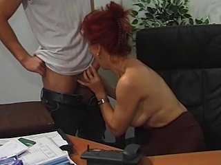 Blowjob European Mature Office Redhead