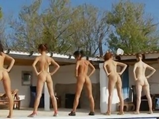 Six naked girls unconnected with the pool from usa