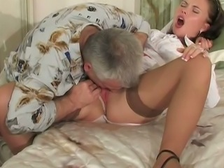 Cute Licking Masturbating Old and Young Stockings Teen