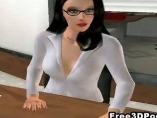 Two sexy 3D cartoon honeys fucked hard at dramatize expunge office